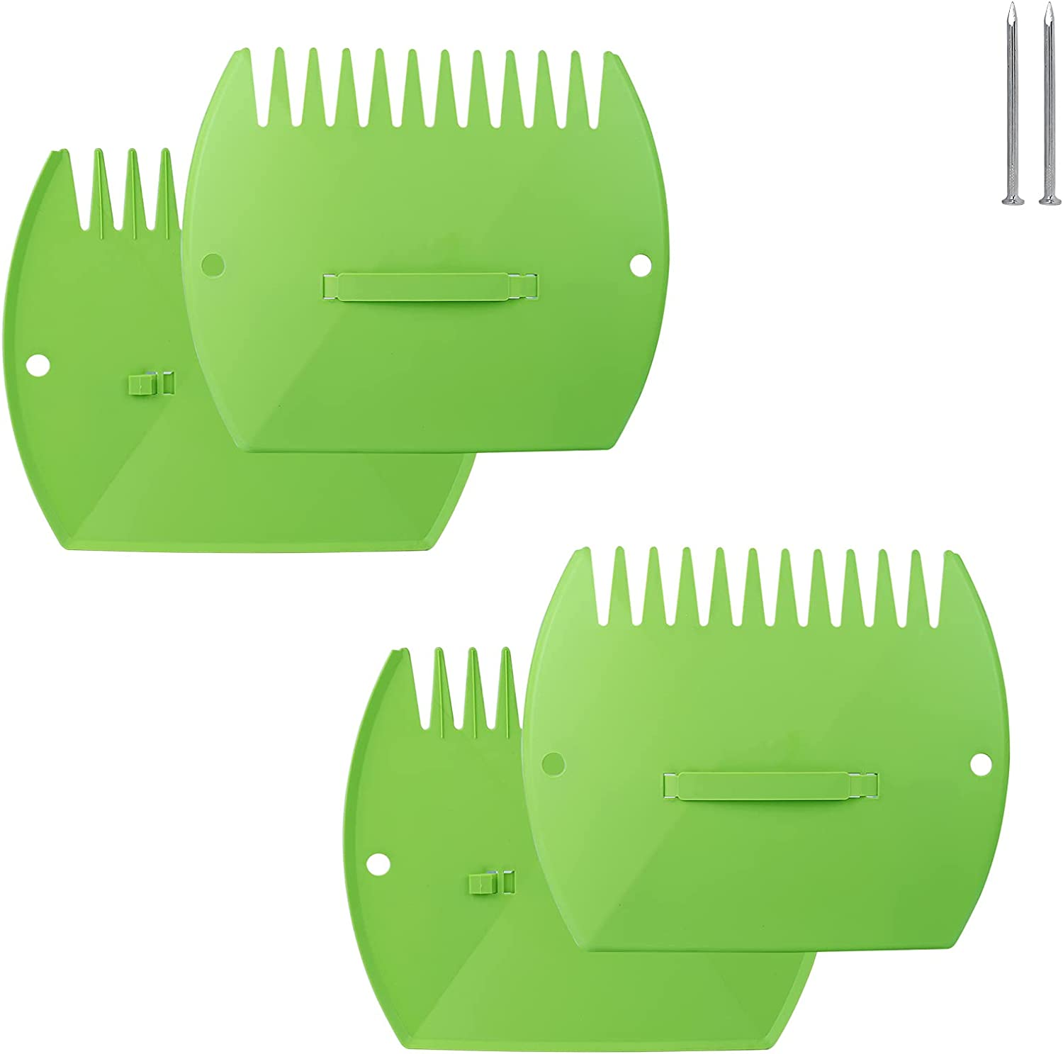 FIVEAGE 2 Pair Garden and Yard Leaf Scoops Hand Rakes, Leaf Grabber Set, Use for Leaves, Leaf Picker,Grass Clippings and Trash, Green (with 2 Pcs Steel Nails)