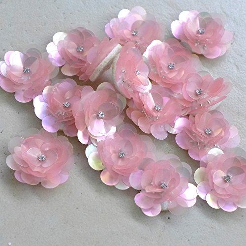 Sequin Flowers Brooch (Pink/blue sequins/rhinestones 3D flowers 3cm diameter 50PC/lot (pink))