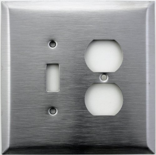 Over Sized Jumbo Satin Stainless Steel Two Gang Wall Plate - One Toggle One Duplex Outlet