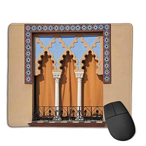 Mouse Pad pad Customized Rectangle Non-Slip Rubber Mousepad,Arabian,Old Windows in Arabian Style at Cordoba Spain Background Balconies City,Sand Brown Light Blue,Consoles More Enjoy Precise & Smooth