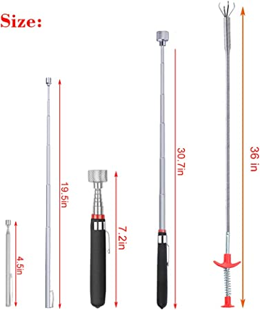 1Pcs Pocket Clip Long Retractable Strong Magnetic Pickup Tool Pick Up Tools