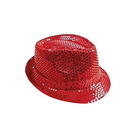 P TIT CLOWN 20194 Chapeau Tissu Sequins Adulte - Borsalino - Rouge ... b16ca932fbf