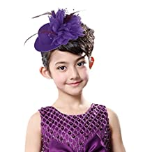 Gemvie Women Feather Fascinator Mini Hat Flower Hairpin Hair Accessories