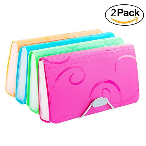 e Folder, Pack of 2, 10 x 5 Inches, 13 Pocket Document File Folder with Tabs and Bungee Closure - Mini PP Wallet Organizer for Bills, Receipts, Coupons, Checks, Cards, Random Color (Expandable Poly Premium Wallets)