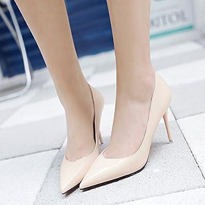 Yalanshop Printemps, été, et polyvalente Noir pointu Chaussures à talons hauts Fille fine Professional seule Chaussure, 34, Beige