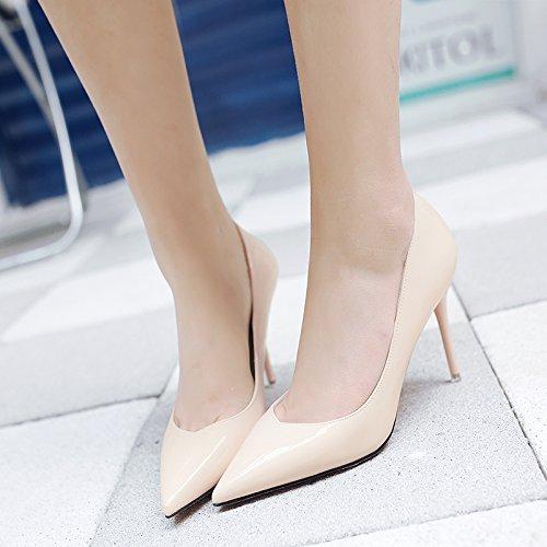 39 profesional los beige único fino En Punta alto primavera verano chica Negra zapatos y tacón zapato de de versátil a04nZ0U