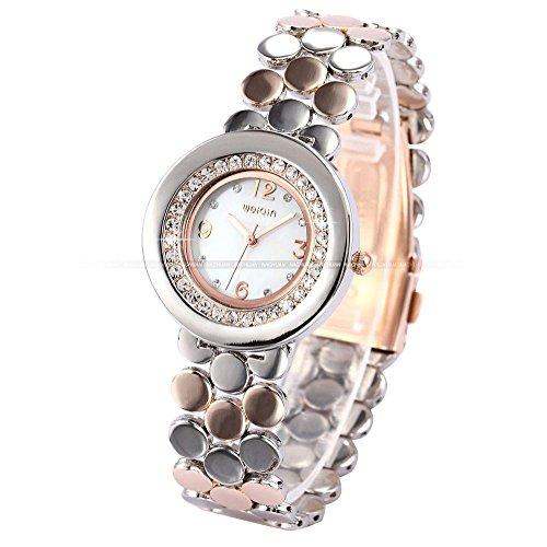 LNTGO Fashion Clear Rhinestone Silver Rose Golden Round Stainless Steel Case White Dial Women Lady Quartz Analog Wrist Watch - Wqi054