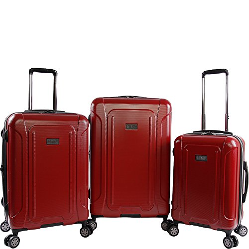 ORIGINAL PENGUIN Crest 2.0-3 Piece Set Expandable Suitcase with Spinner Wheels, Brick Red