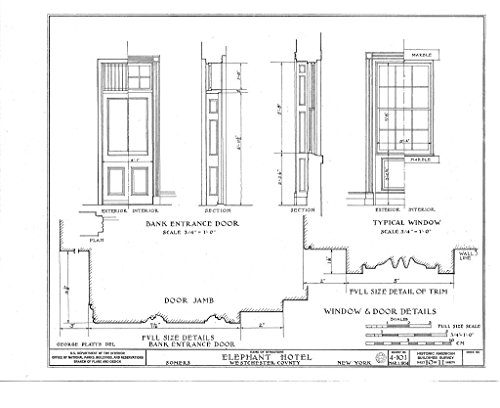 Historic Pictoric Structural Drawing HABS NY,60-SOM,1- (Sheet 10 of 11) - Elephant Hotel, State Route 116 Vicinity, Somers, Westchester County, NY 55in x 44in