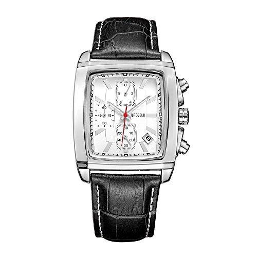 (BAOGELA Men's Chronograph Square Sport Dress Quartz Wrist Watch All Black Leather Band White Face Silver Case Date Waterproof Watches for Men)
