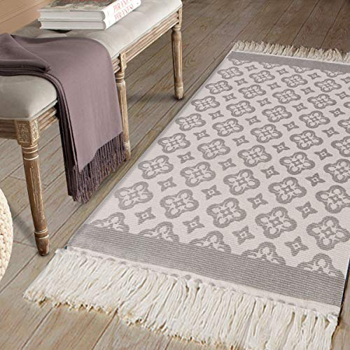 Cotton Printed Area Rug, Seavish Decorative Hand Woven Runner Carpet, Fern Green Britney Kilim Rugs Throw Rug 2' x 4'4