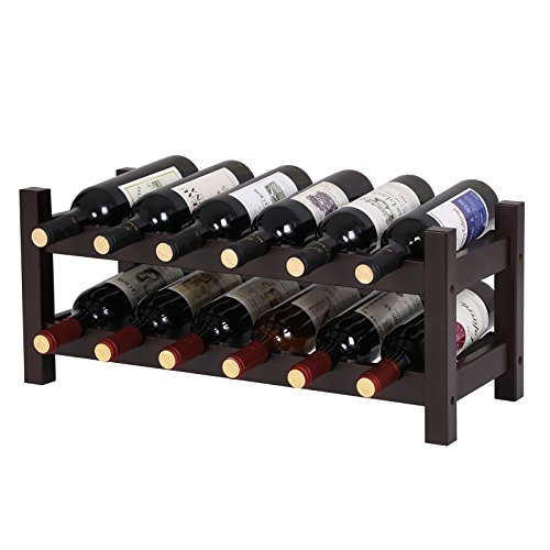 SONGMICS Bamboo Wine Display Rack, 2-Tier 12-Bottle Storage Shelf, Brown ()