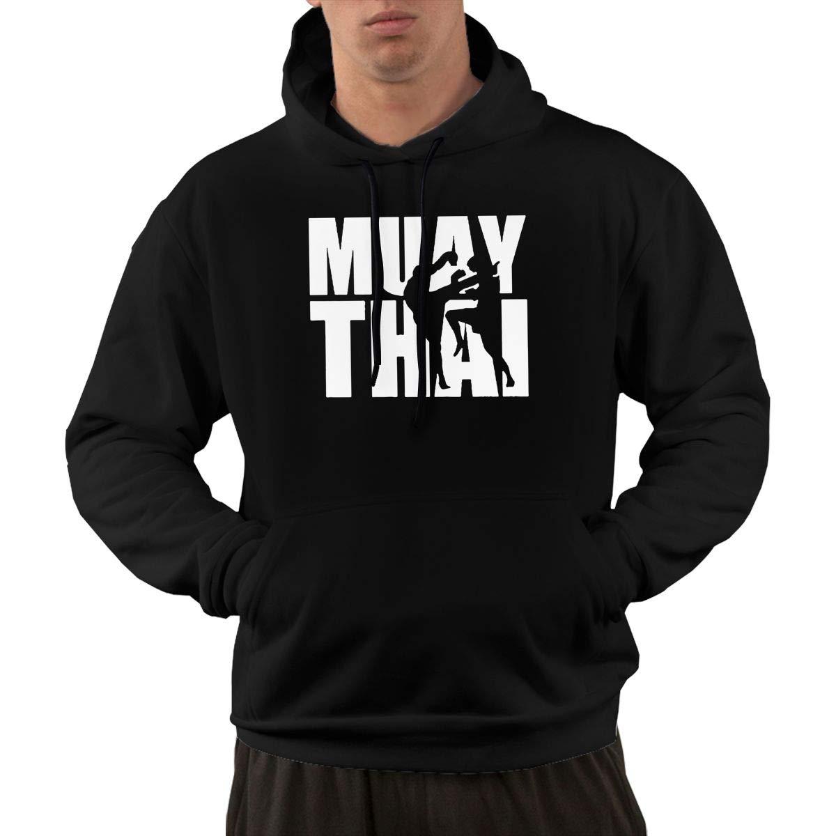 SweatMTK5 Muay Thai Retro Men Hooded Sweater CasualGreatcoat with Kanga Pocket Black