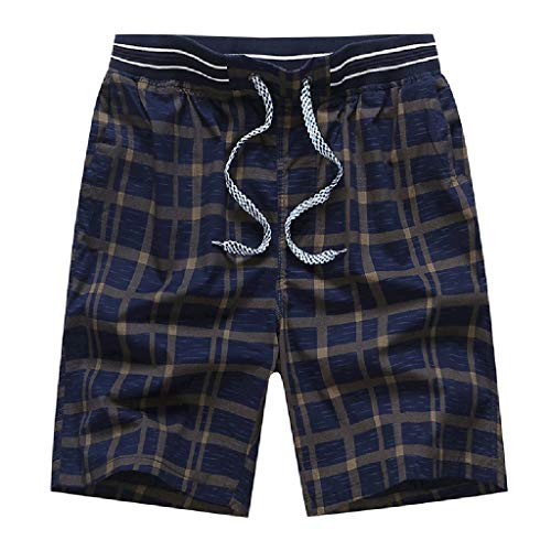 New Plaid Shorts Swim - Bohelly Hot Men's New Summer Casual Plaid Printing Cotton Loose Sports Breathable Five Points Beach Shorts Swimming Trunks Dark Blue