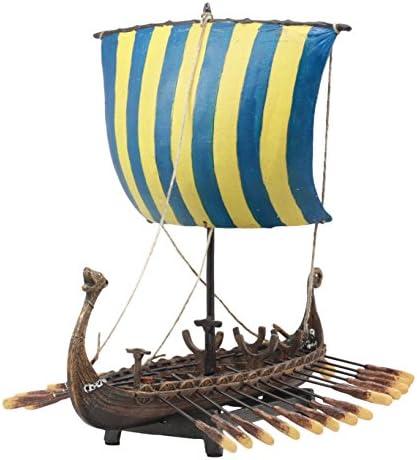 Gifts Decor Ebros Scandinavian Viking Norseman Dragon Longship Model Statue with Base Stand War Vessel Battle Ship Prototype Sculpture Figurine