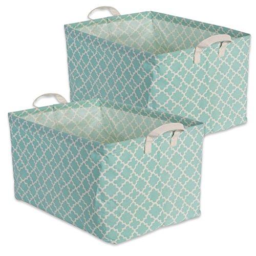 DII Cotton/Polyester Cube Laundry Basket, Perfect In Your Bedroom, Nursery, Dorm, Closet, 10.5 x 17.5 x 10, Large Set of 2 - Aqua Lattice