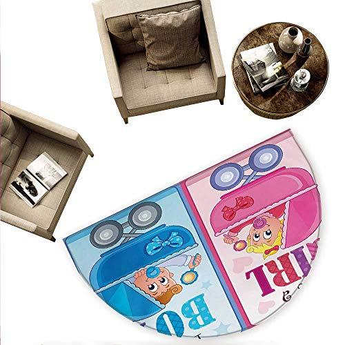 Gender Reveal Semicircle Doormat Girl and Boy Baby Carriage Looking Newborn Announcement Theme Print Halfmoon doormats H 59