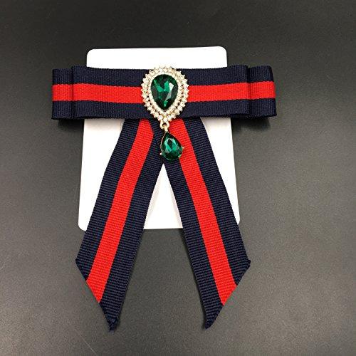 HK Topaz Christmas Brooch for Rhinestone Brooch for Women Costume Dark Blue Bowknot Brooch (Dark Topaz Rhinestone)