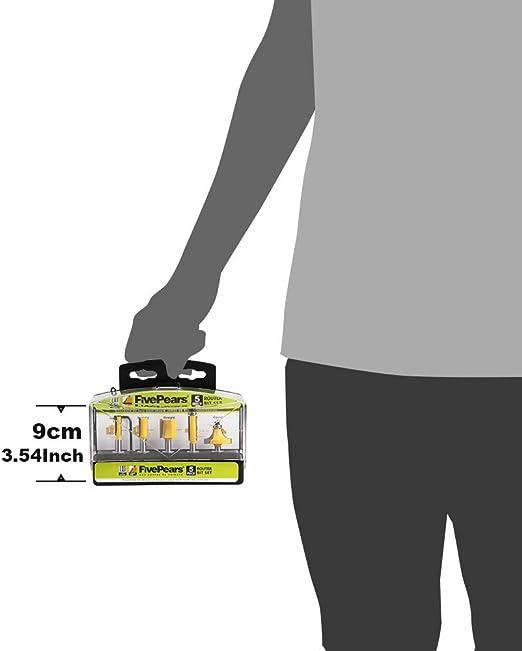 Cortador de Fresado Fuerte y Duradero Form Herramientas de Corte para Carpinter/ía con Buen Rendimiento y Excelente Mano de Obra Broca de Enrutador de 5 Piezas 1//4 V/ástago para Ranurado de Madera