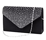 Jubileens Ladies Large Evening Satin Bridal Diamante Ladies Clutch Bag Party Prom Envelope (Black)