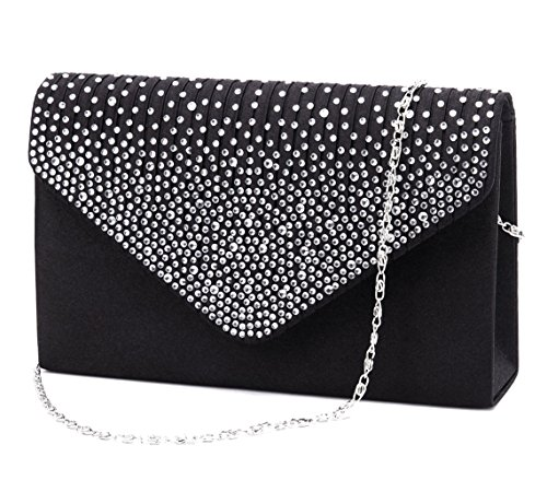 Black Satin Diamante Clutch Bag - 3