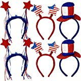 Patriotic Head Band Boppers 6 Pack Red Star Uncle Sam Top Hat American Flag Stars and Stripes Design Fourth of July USA Children's Hair Costume Dress Up Party Favor Supplies Decoration Accessories