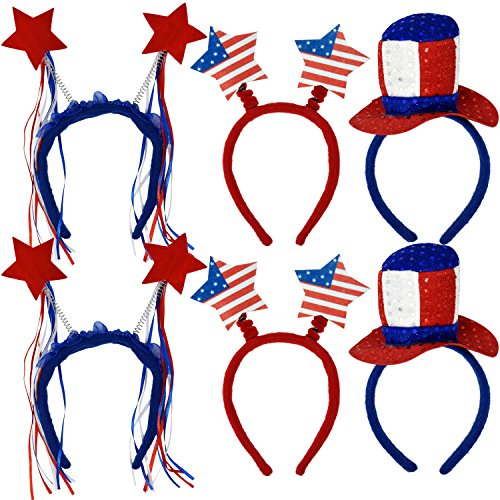 Patriotic Head Band Boppers 6 Pack Red Star Uncle Sam Top Hat American Flag Stars and Stripes Design Fourth of July USA Children's Hair Costume Dress Up Party Favor Supplies Decoration Accessories]()