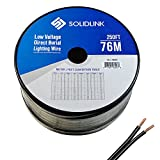 SolidLink 250ft (76M) Low Voltage 12/2 Direct Burial Bare COPPER Lighting Wire Parallel Flat-Twin Cable For Landscape Lights