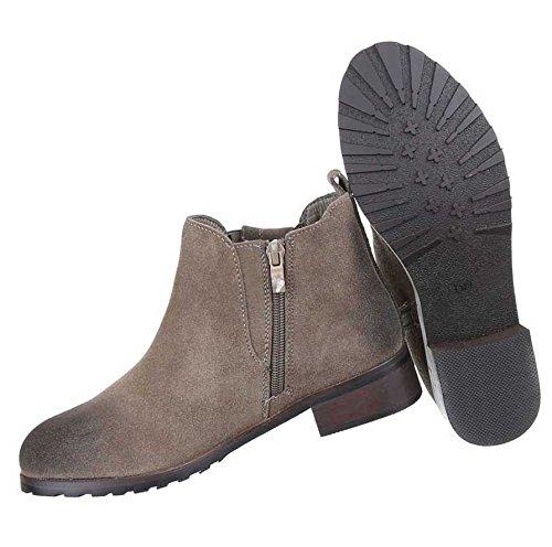 Damen Stiefeletten Schuhe Wildleder Boots Used Optik Schwarz Grau 36 37 38 39 40 41 Grau