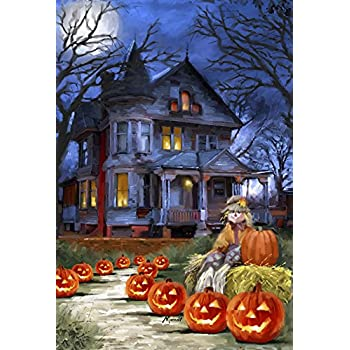 Nice Toland   Spooky Manor   Decorative Halloween Fall Jack O Lantern Pumpkin  USA Produced House