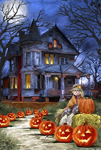 Toland Home Garden Spooky Manor 28 x 40 Inch Decorative Halloween Jack o Lantern Pumpkin House Flag (3 Gate Light Manor)
