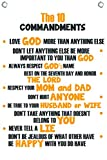 The Ten Commandments for Kids - Wall Quotes Canvas Banner - 12'' Wide By 18'' High