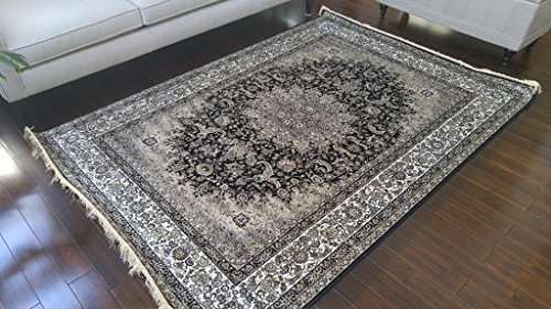 Black Ivory Grey Brown New Silk Traditional Isphan Area Rugs Ultra Low Pile 8'3×11&#8 ...