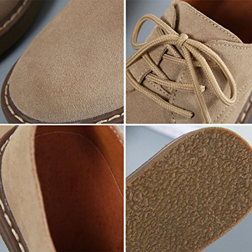 marrón Zhuomei de Zapatos Para Cordones Mujer qn1CxpFTw
