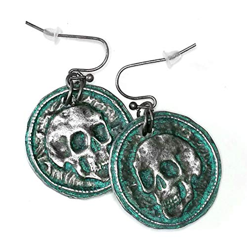 Antiqued Silver Patina Skull Drop Earrings