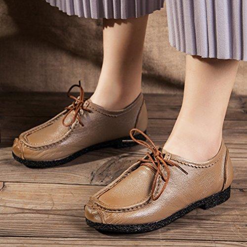 Vogstyle Damen Vintage Schön Weich Leder Low-top Schnürschuhe Schuhe Art 2 Kamel