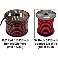 GS Powers 10 Ga Gauge CCA Copper Clad Aluminum Red/Black 2 Conductor Bonded Zip Cord Power/Speaker Cable for Car Audio, Home Theater, LED strip Light. Wire Choices: 50 or 100 ft
