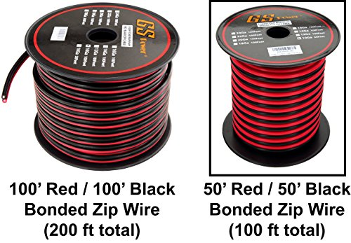 GS Power's 10 Ga Gauge 50 feet CCA Copper Clad Aluminum Red/Black 2 Conductor Bonded Zip Cord Power/Speaker Cable for Car Audio, Home Theater, LED strip - 10 Ga Cable Power Wire