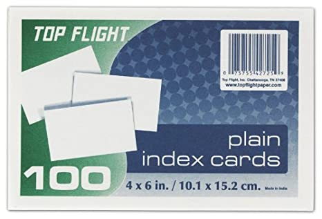 Unruled Top Flight Index Cards White 100 Cards per Pack 4004037 4 x 6 Inches