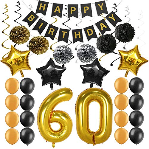60th Birthday Party Decorations Kit Supplies, Happy Birthday Banner Sparkling Celebration Hanging Swirls Poms Star Foil Balloons for 60th Birthday Party Supplies Photo Props