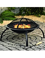 22-Inch Outdoor Fire Pit Wood-Burning Portable Folding Steel Outdoor Camping Barbecue Grill, Fire Bowl with Screen Cover, Poker
