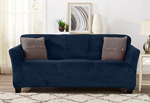 Sofa Slipcover Cover (Modern Velvet Plush Strapless Slipcover. Form Fit Stretch, Stylish Furniture Cover / Protector. Gale Collection by Great Bay Home Brand. (Sofa, Dark Denim Blue))