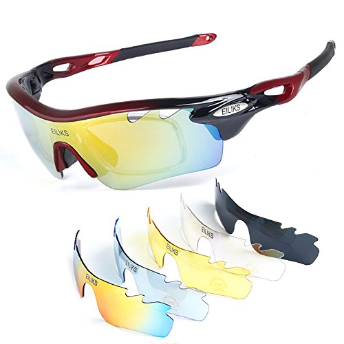 YQI Polarized Sports Sunglasses Hiking with 5 Interchangeable Lenses Unbreakable for Men and Women Cycling Running Softball Fishing by YQI