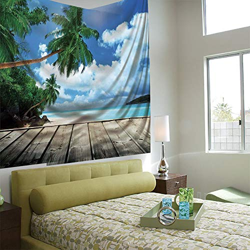 Wall Tapestry Decorative Art Prints can be Hung on The Bedside of Dormitory,Art,Tropical Island Beach from The Deck Pier by The Ocean with PalmTrees Exotic Print,Green Navy Brown