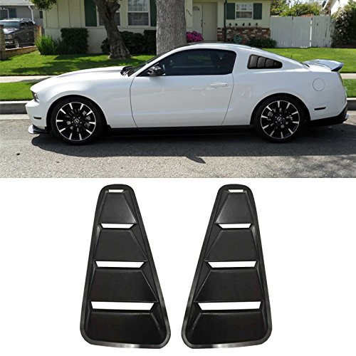 VIOJI 2pcs Black ABS Plastic Retro Style Side Quarter Window Louvers For 05-14 Ford Mustang 2-Door Coupe Only