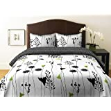 Perry Ellis, Asian Lily Collection, Duvet Set, White/Black, Full/Queen