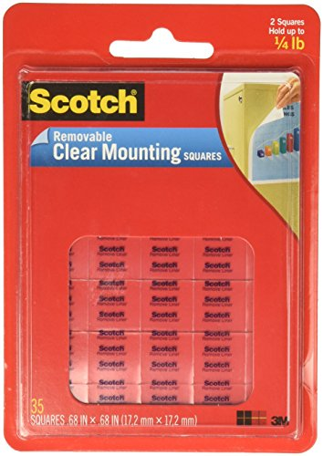 (Scotch(R) Removable Wall Mounting Tabs, 11/16in. x 11/16in, Clear, Box of 35)