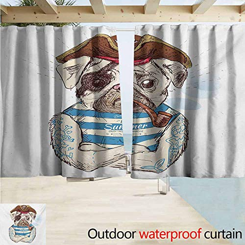 Sleeveless Striped Panel - Pug Outdoor Grommet Top Curtain Panel Pirate Pug Conqueror of The Seas Pipe Skulls and Bones Hat Striped Sleeveless T-Shirt Room Darkening, Noise Reducing W55 xL63 Brown Blue