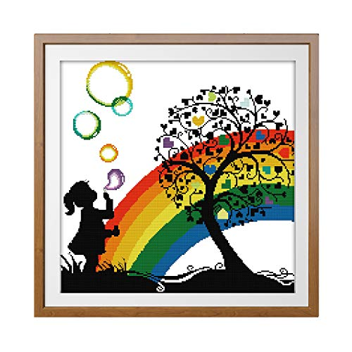 Cross Stitch Stamped Kit Quilt Pre-Printed Cross-Stitching Patterns for Beginner Kids & Adults- Embroidery Needlepoint Starter Kits, Rainbow Bubble -