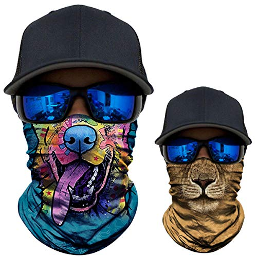 2 Pack - 3D Animal Neck Gaiter Scarf Bandana Face Mask Seamless UV Protection for Motorcycle Cycling Riding Running Fishing Hiking Conoeing Funny Dog and Lion -